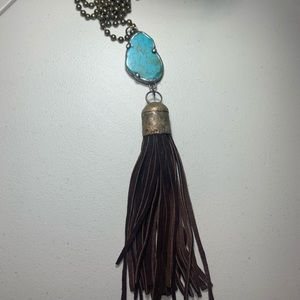 Leather tassel turquoise statement long necklace
